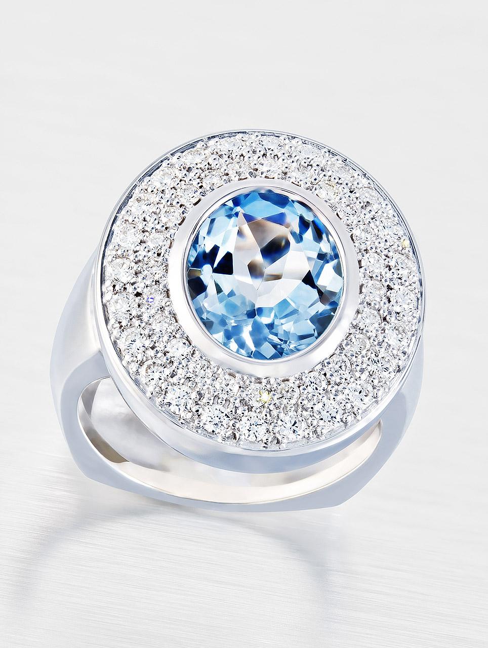Weissgold Ring mit Aquamarin und Brillanten